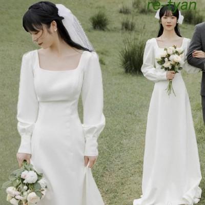 ワンピースウエディングドレス結婚式白袖ありロングドレスイブニングドレスパーティードレス前撮りブライダルフォーマルシンプ