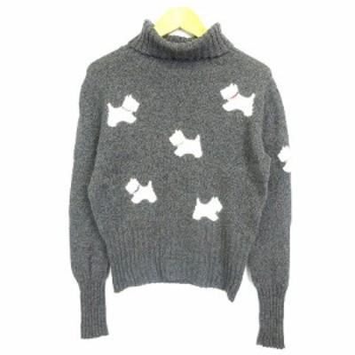 【中古】LIMERENCE LIMERENCE ニット セーター タートル 長袖 犬 アニマル ビーズ ラインストーン グレー IBS43