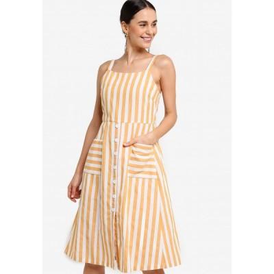 ザローラ ZALORA レディース パーティードレス ワンピース・ドレス Pockets Detail Dress Mustard/Off White
