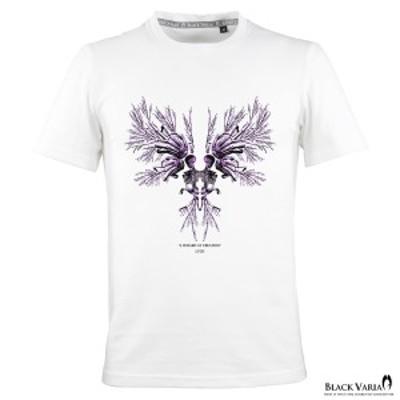 Tシャツ 半袖 クルーネック スカル 髑髏 モノトーンハンドボーン インセクトウイング 丸首 メンズ スリム 細身(ホワイト白) crzkh195