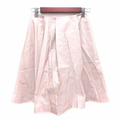 【中古】ジルサンダー JIL SANDER NAVY フレアスカート ひざ丈 絹 シルク 32 ピンク /YK レディース