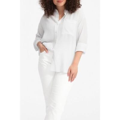 エバーレーン レディース シャツ トップス The Clean Silk Oversized Shirt GREY WHITE