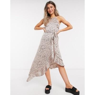 ニュールック レディース ワンピース トップス New Look ruffle hem midi dress in pink polka dot