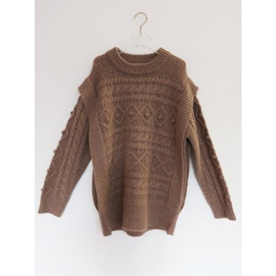 cable over knit top (brown)