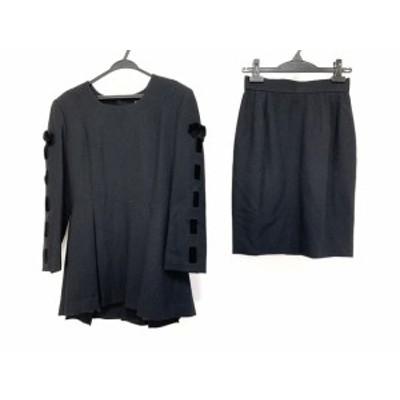 エムズグレイシー M'S GRACY スカートセットアップ サイズ9 M レディース 美品 - 黒 リボン/肩パッド【中古】20210128