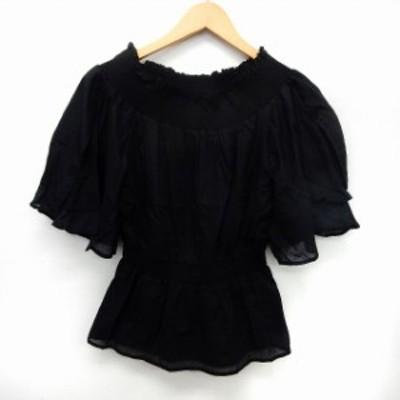 【中古】マリリンムーン Marilyn Moon カットソー Tシャツ 五分袖 2WAY オフショル フレア シンプル ブラック /ST7