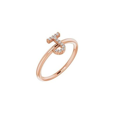 Solid 14k Rose Gold .05 Cttw Diamond Alphabet Initial Letter J Ring Band (W