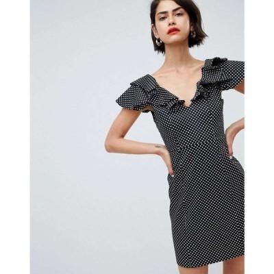 リバーアイランド River Island レディース ボディコンドレス ミニ丈 ワンピース・ドレス Ruffle Shoulder Polka Dot Bodycon Mini Dress ブラックスポット