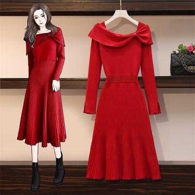 高品質韓国ファッションOL正式な場合礼装ドレスセクシーなワンピース一字肩/ラインを美しく演出!/大きいサイズ