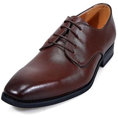[アラモーダ] 日本製 ビジネスシューズ 本革 メンズ 革靴 紳士靴 外羽根プレーントウ 1261 ダークブラウン 26.5cm