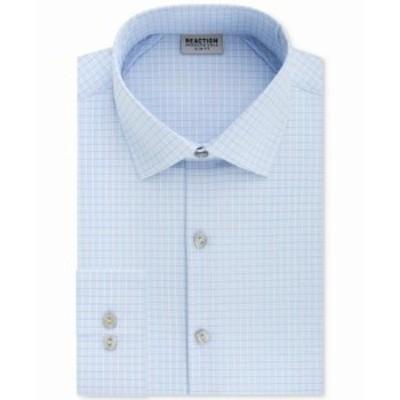 Kenneth Cole ケネスコール ファッション ドレス Kenneth Cole Reaction Mens Dress Shirt Blue Size 17 Slim Fit Plaid