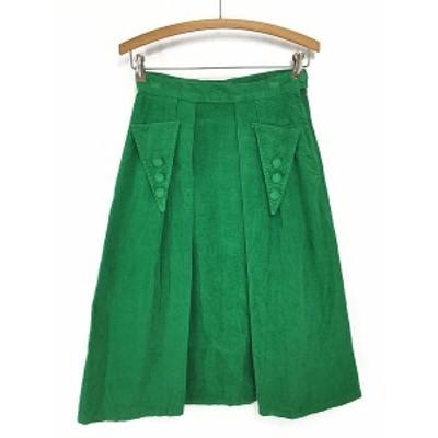 古着 レディース スカート 70s デザイン タック 太畝 ミディアム丈 コーデュロイ フレア スカート M位 古着