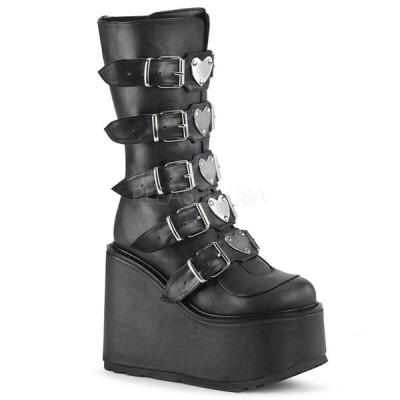 """パンク 厚底 ブーツ モニ レディース Demonia SWING-230 SWING-230G Women's 5.5"""" Platform Goth Punk Gogo Knee Boot"""