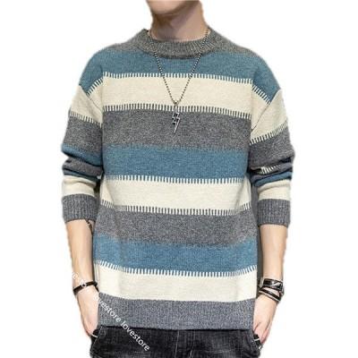 春秋冬 セーター メンズ ニットセーター あったか 大きいサイズ カジュアル 厚手 トップス 長袖 ?量 ラウンドネック プルオーバー 黒