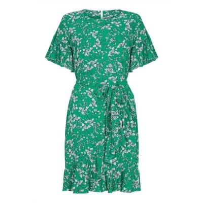 ユミ Yumi Curves レディース ワンピース ワンピース・ドレス Floral Print Ruffle Dress Green