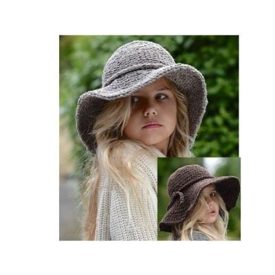 2020 新作 子供用 帽子 ニットハット ニット帽 つば広ハット つば広帽 女優帽 お出かけ リボン CZ5483