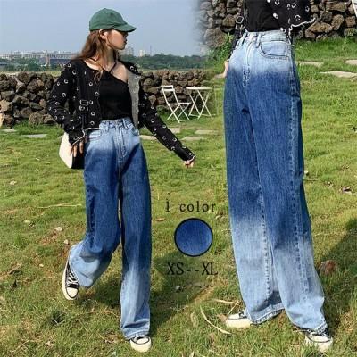 ワイドパンツ デニム レディース ハイウエスト ストレート ポケット付き ワイド ゆったり お出かけ 長ズボン ジーンズ ファッション 着回し 20~40代 2020秋