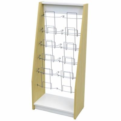 木製カタログスタンド ダブル ナチュラル×ホワイト SHKS2-002NW アールエフヤマカワ RFyamakawa パンフレットラック マガジンラック 待合室 オフィス家具