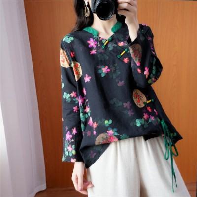 シャツ トップス ブラウス レディース ロング丈 長袖 Vネック 花柄  通気性がいい  大きいサイズ ゆったり 春 ほど良くゆるっとしたシルエット 可愛い