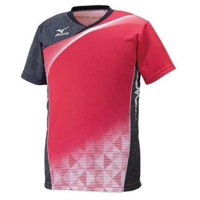 MIZUNO ミズノ ゲームシャツ(バレーボール) レッド/ブラックデニム/ホワイト(v2ja600162)