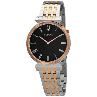 腕時計 ブローバ メンズ Bulova Regatta Quartz Black Dial Two-tone Men's Watch 98A234