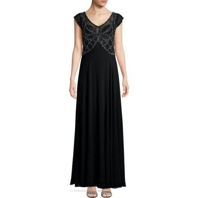 ジェイカラ J Kara レディース パーティードレス ノースリーブ ワンピース・ドレス sleeveless embellished column gown ブラック