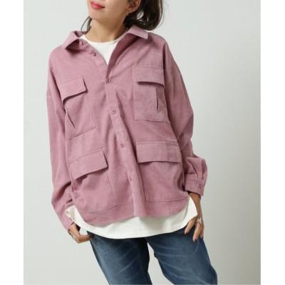 【ダブルネーム】 4つポケBIGシャツ レディース ピンク FREE DOUBLE NAME