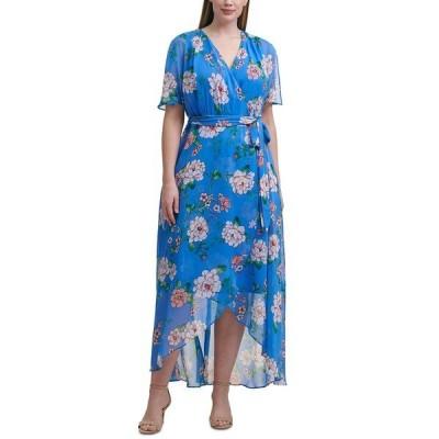 ジェシカハワード ワンピース トップス レディース Plus Size Floral-Print Maxi Dress Blue Multi