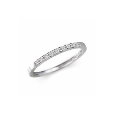 ハーフ 一文字 リング 平打 リング 天然ダイヤモンド k10ホワイトゴールド 幅リング 微細