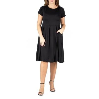 24セブンコンフォート ワンピース トップス レディース Women's Plus Size Short Sleeve Midi Skater Dress Black