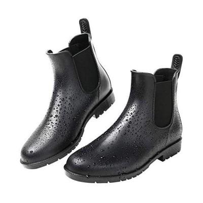 [kweco] レディースレインブーツファッションレイン ブーツ サイドゴア 雨靴防水 梅雨対策… (ブラック 24.0 cm)