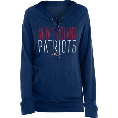 ニューエラ New Era レディース パーカー トップス New England Patriots Lace Hood Navy Long Sleeve T-Shirt