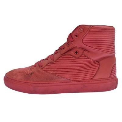 BALENCIAGA(バレンシアガ)Pleated High-Top Sneakers 300067 ハイカットスニーカー レッド