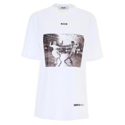 MSGM エムエスジーエム Tシャツ レディース カットソー ホワイト T-Shirt 2543MDM70 184712 01(otr2569) 【並行輸入品】