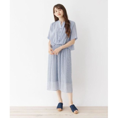 SHOO・LA・RUE/シューラルー 【M-LL】タックインデザインワンピース ブルー(393) 02(M)