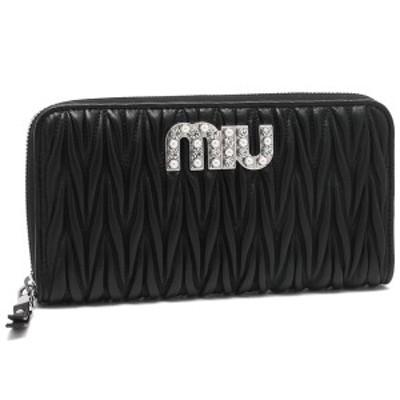 ミュウミュウ 長財布 レディース MIU MIU 5ML506 2BSQ F0002 ブラック