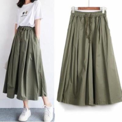 春夏 韓国ファッション スカーチョ コットンリネン カジュアルパンツ 9分丈 楽ちん かわいい レデイース ボトムス Aライン