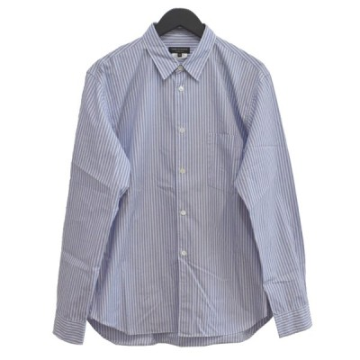 COMME des GARCONS HOMME PLUS 19SS メッシュライナー付 ストライプ プルオーバーシャツ ブルー サイズ:M (堀江店)