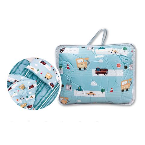 little moni 兒童睡袋三件組-城市汽車(藍綠色系)