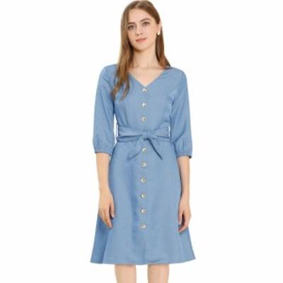 Allegra K Aラインワンピース ドレス ベルト付き Vネック 前ボタン 七分袖 無地 カジュアル レディース ブルー XS