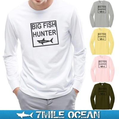 メール便 送料無料 7MILE OCEAN メンズ 長袖 ロング tシャツ ロンT アウトドア アメカジ プリント ロゴT サメ シャーク 釣り フィッシング