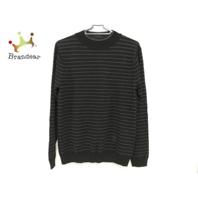 マーガレットハウエル MargaretHowell 長袖セーター サイズM メンズ 美品 黒×グレー ボーダー 新着 20200330