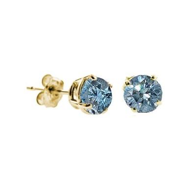 Vir Jewels, スタッド イヤリング レディース イエローゴールド K14 ブルーダイヤモンド 0.5 CT