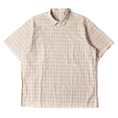Papas パパス シャツ タータンチェック 半袖 コットン シャツ ベージュ  M 【メンズ】【中古】【K2632】
