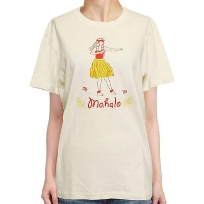 Tシャツ 半袖 フラガール ハワイ フラダンス 綿100% シンプル かわいい エスニック アジアン レディース ナチュラル Sサイズ