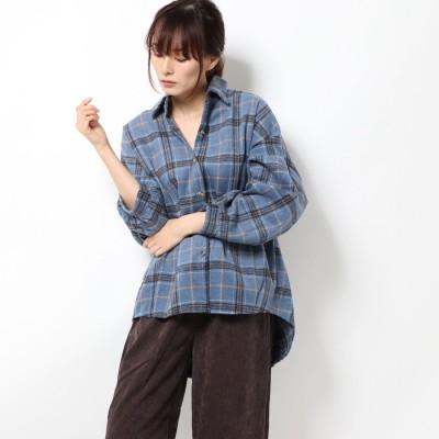 スタイルブロック STYLEBLOCK 起毛ビッグチェック柄ビッグシャツ (ブルー)