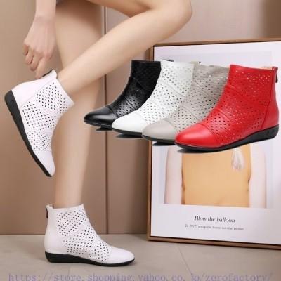 4色サマーブーツブーツサンダルレディース無地透かし彫り夏新作美脚ブーツヒール3cmショートブーツ女性通気性美脚¥/脚長歩きやすい