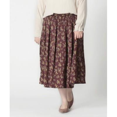 スカート 【大きいサイズ】サテン起毛花柄プリントスカート