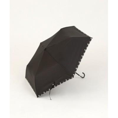(Afternoon Tea LIVING/アフタヌーンティーリビング)スカラップフラワー刺繍晴雨兼用折りたたみ傘 日傘/レディース ブラック