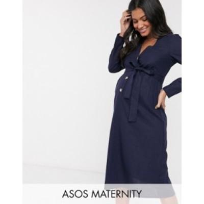 エイソス レディース ワンピース トップス ASOS DESIGN Maternity button through linen midi dress with self belt in navy Navy